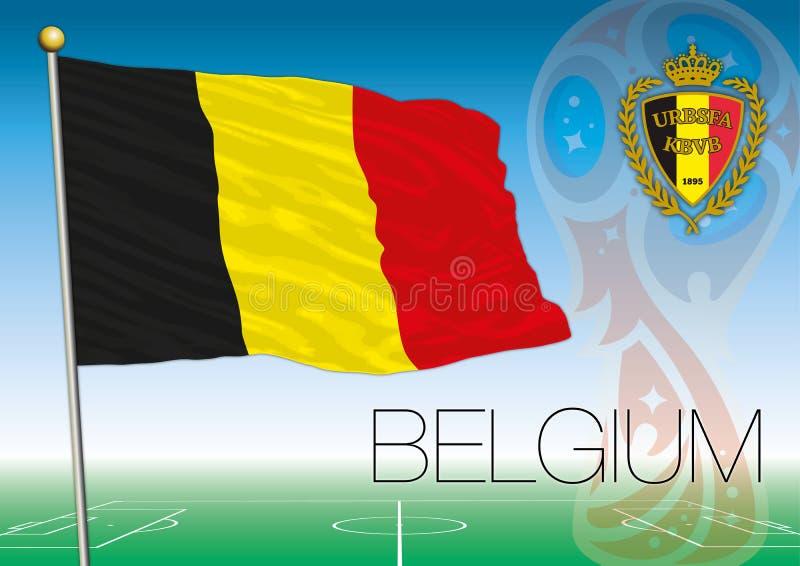 MOSKWA, ROSJA, Lipiec 2018 - Rosja 2018 pucharów świata logo i flaga Belgia royalty ilustracja