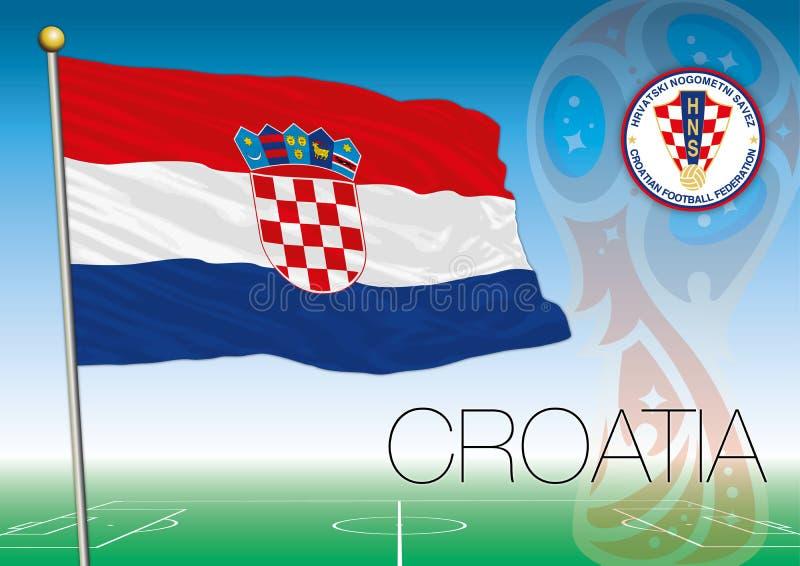 MOSKWA, ROSJA, Lipiec 2018 - Rosja 2018 pucharów świata logo i flaga Chorwacja
