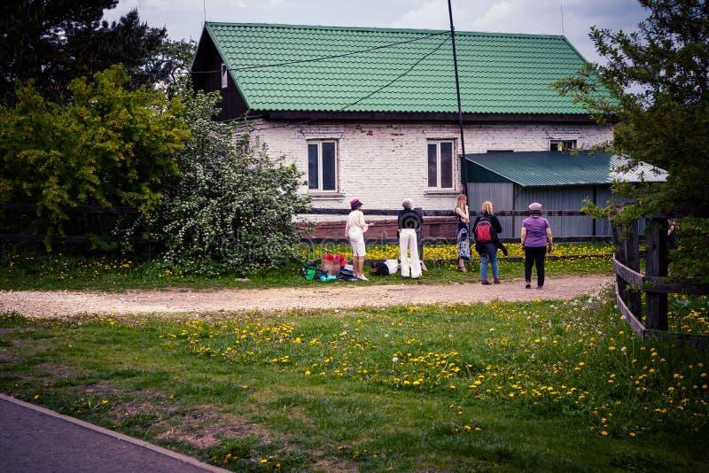 MOSKWA ROSJA, MAJ, - 15, 2019: Drewniany dom w Kolomna parku zdjęcia royalty free