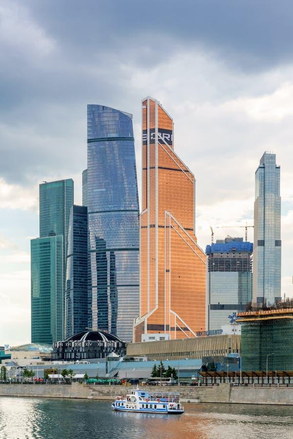 Moskwa Rosja, Maj, - 26, 2019: Widok drapacz chmur Międzynarodowy centrum biznesu w Moskwa obrazy royalty free