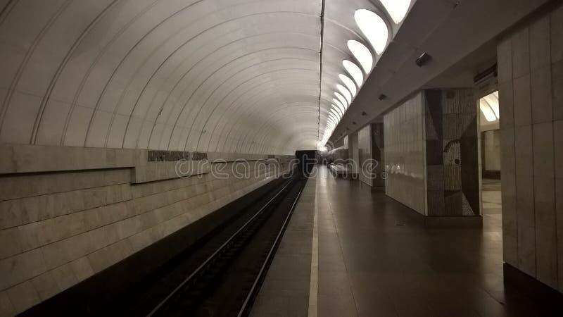 Moskwa, Rosja, metropolita, ` Krestyanskaya Zastava ` stacja metru, Peron na staci metru zdjęcia royalty free