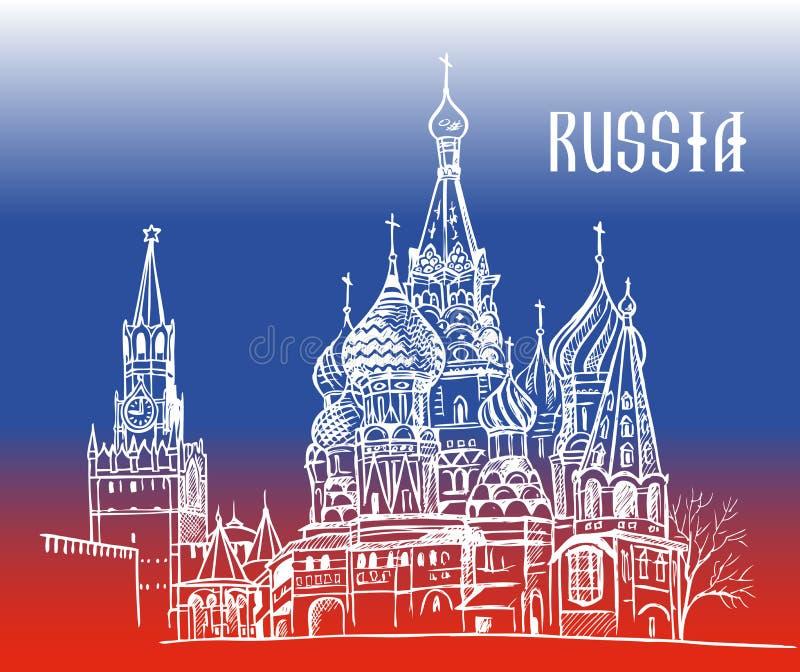 Moskwa Rosja na flaga royalty ilustracja