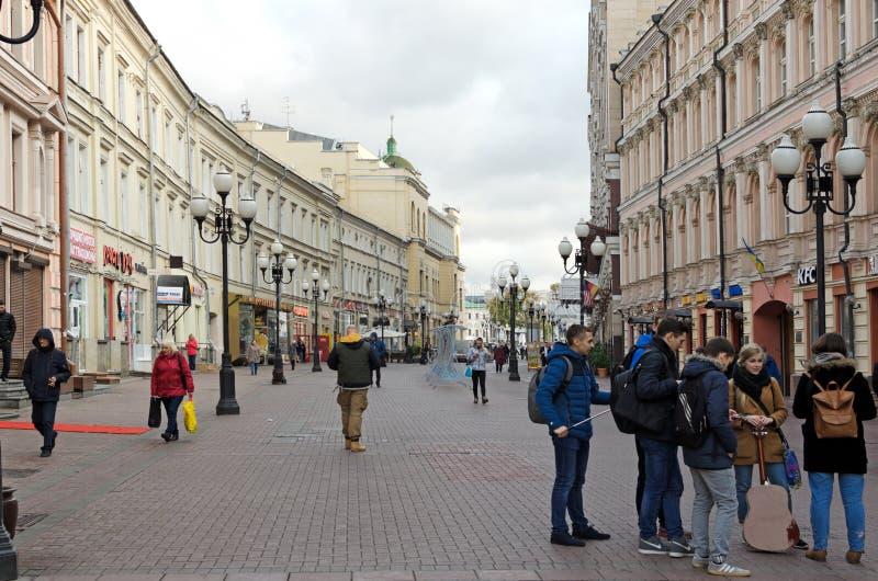 Moskwa, Rosja - 17 października 2017: Ulica piesza Arbat, część historyczna i przełomowa miasta Moskwy fotografia royalty free