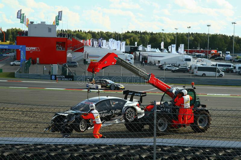 Moskwa Rosja, Sierpień, - 29, 2015: Nadzwyczajna scena Porsche sporta wyzwania Moskwa młynówka w ramach DTM rasy obrazy royalty free