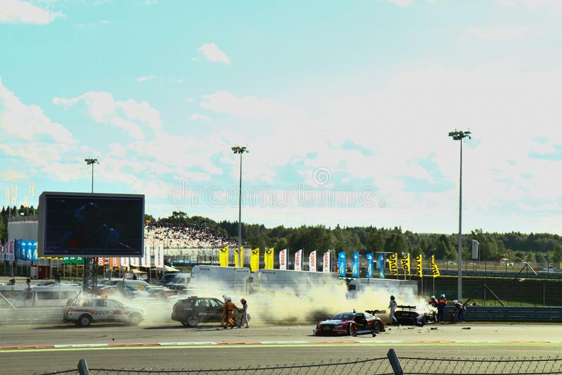 Moskwa Rosja, Sierpień, - 29, 2015: Nadzwyczajna scena Porsche sporta wyzwania Moskwa młynówka w ramach DTM rasy obraz royalty free