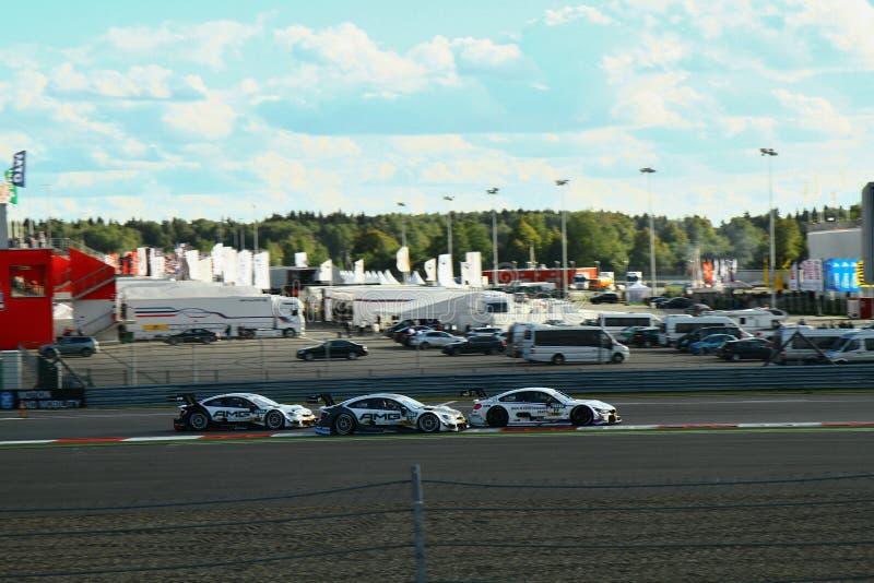 Moskwa Rosja, Sierpień, - 29, 2015: Nadzwyczajna scena Porsche sporta wyzwania Moskwa młynówka w ramach DTM rasy zdjęcia stock