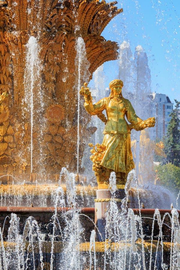 Moskwa Rosja, Sierpień, - 01, 2018: Pozłocista brązowa dziewczyna symbolizuje republiki USSR w fontanny przyjaźni zaludnia na wys zdjęcia stock