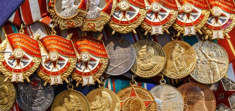 Moskwa Rosja, Stycze?, - 23, 2019: ?rodkowe si?y zbrojne Muzealne R??ne nagrody, rozkazy i medale na rosyjskim wojsku, obraz royalty free