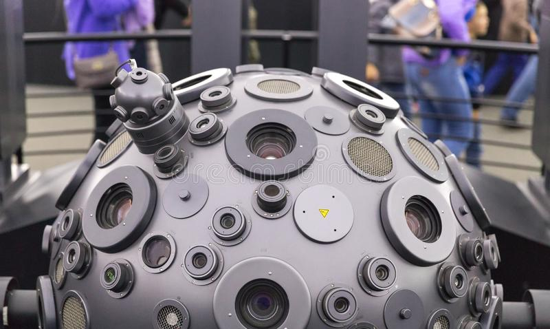MOSKWA ROSJA, WRZESIE?, - 28: Optomechanical Cosmorama projektor planetarium w Moskwa Planetarium tera?niejszo?? obrazy royalty free