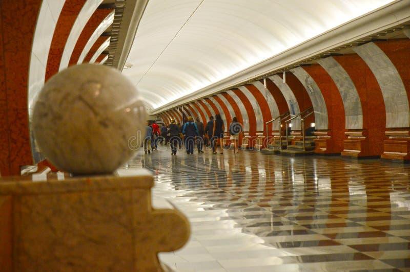 Moskwa stacja metru Zwycięstwo parka ruch drogowy zdjęcie royalty free