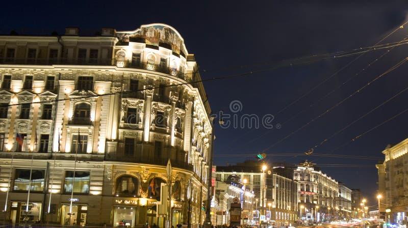 Moskwa, Tverskaya ulica przy nocą obraz stock