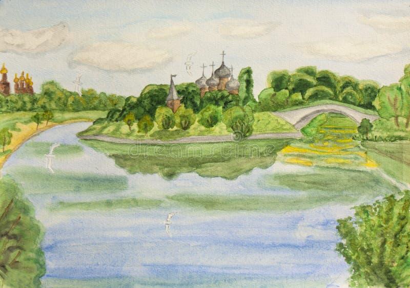 Moskwa, watercolours royalty ilustracja