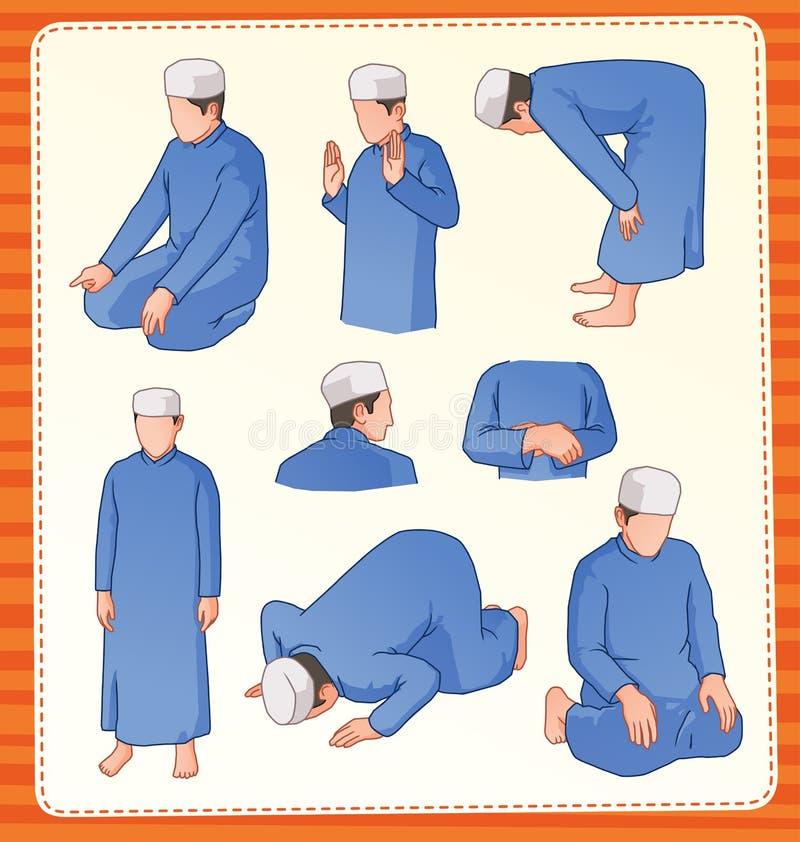 Moslemische betende Position lizenzfreie abbildung