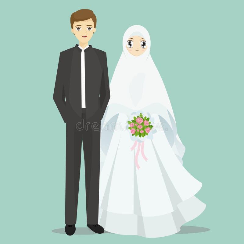Moslemische Braut- und Bräutigamkarikaturillustration lizenzfreie abbildung