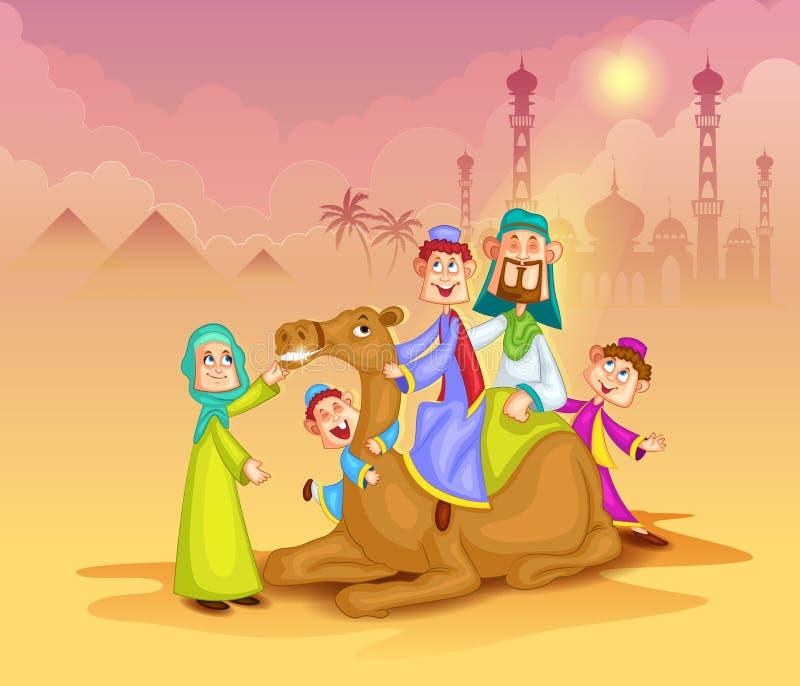 Moslemische Familie auf Kamelfahrt Eid feiernd stock abbildung