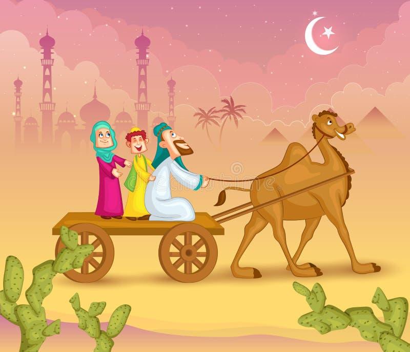 Moslemische Familie auf Kamelfahrt Eid feiernd lizenzfreie abbildung