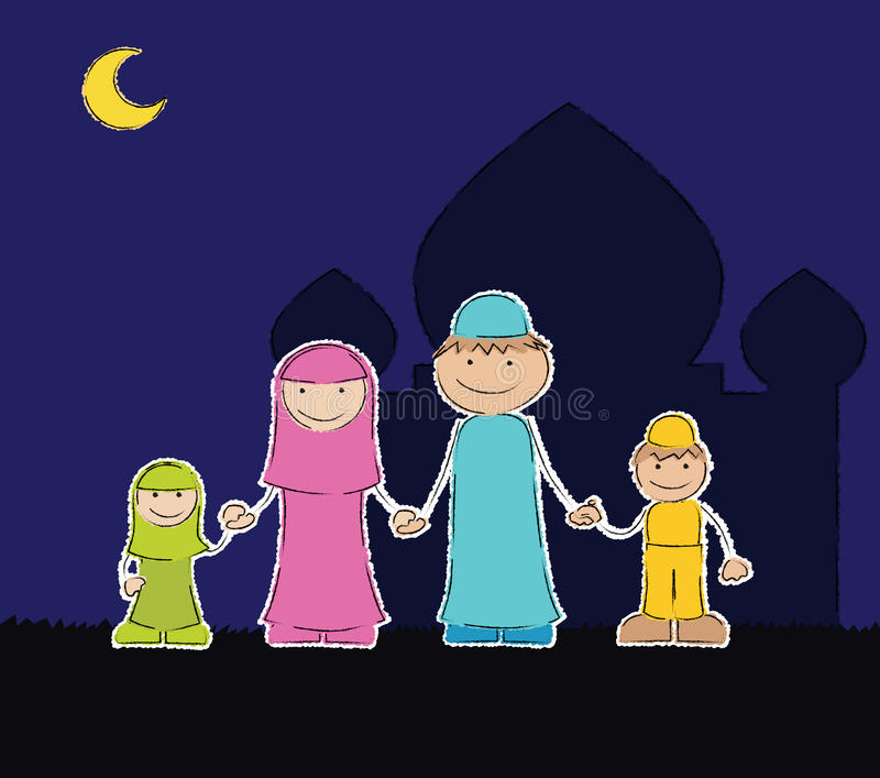 Moslemische Familie an der Moschee lizenzfreie abbildung