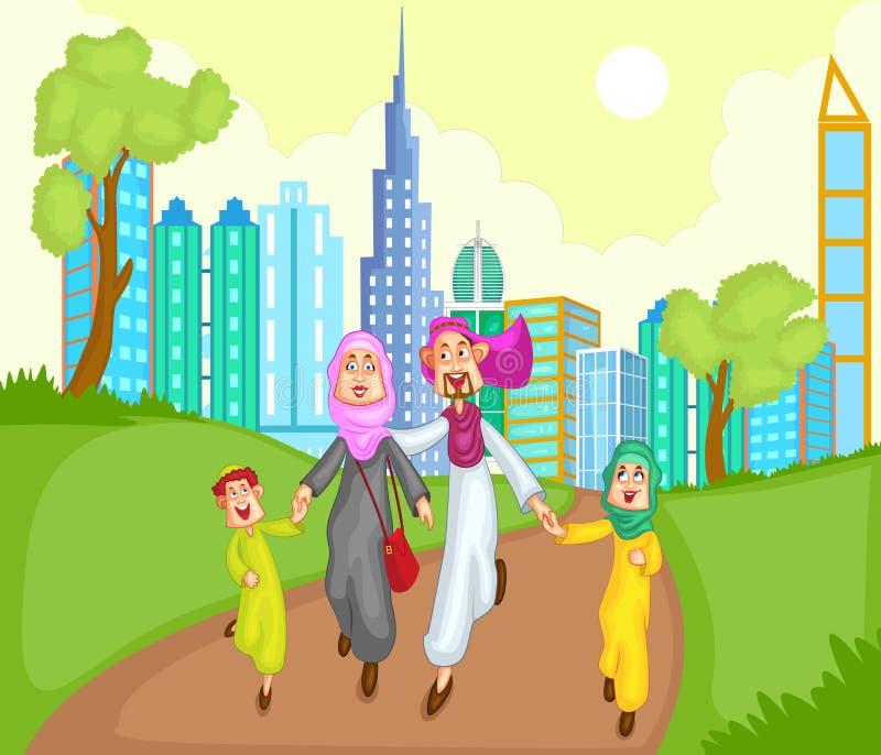 Moslemische Familie, die mit Kind läuft lizenzfreie abbildung