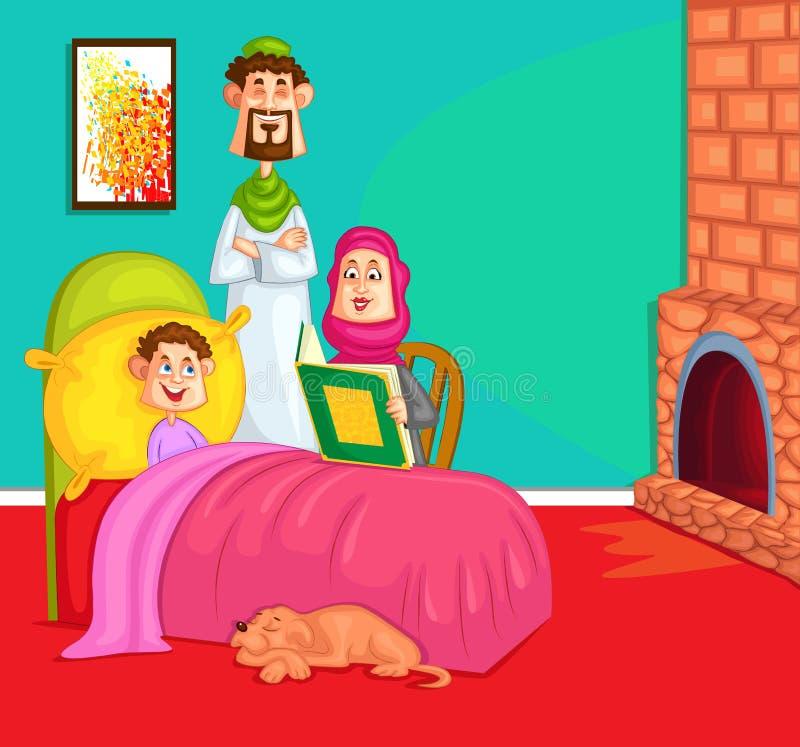 Moslemische Familienlesegutenachtgeschichte vektor abbildung