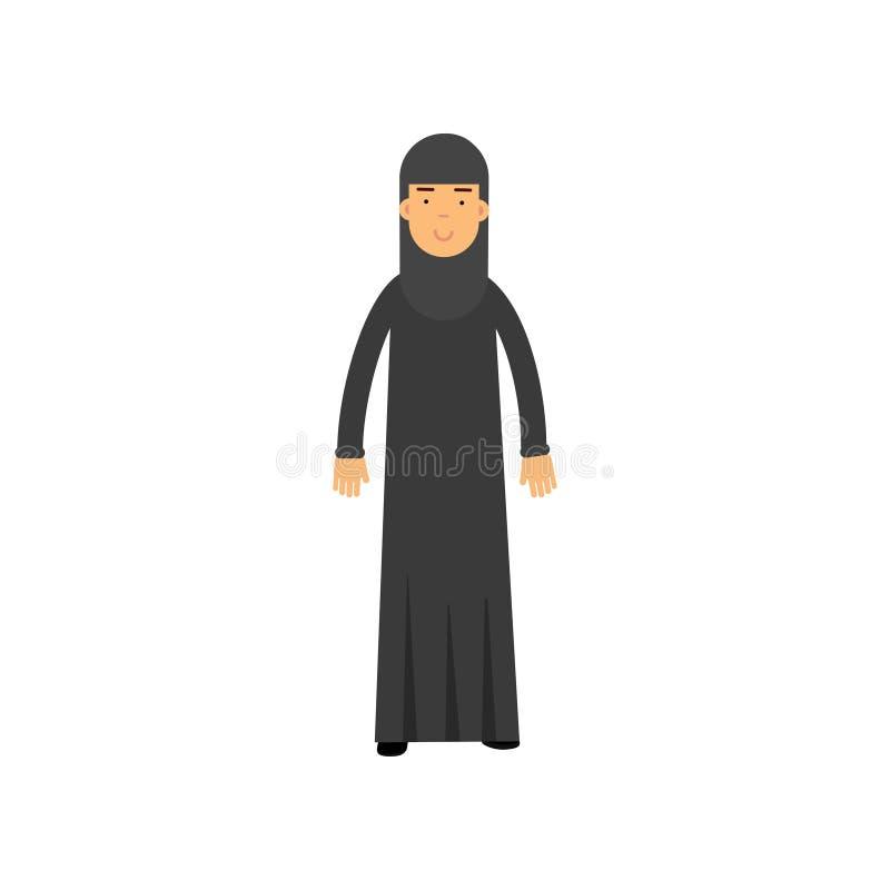 Moslemische Frau im nationalen arabischen Kostüm Karikaturweibliche figur, die schwarzes Kleid trägt Arabische traditionelle Klei stock abbildung