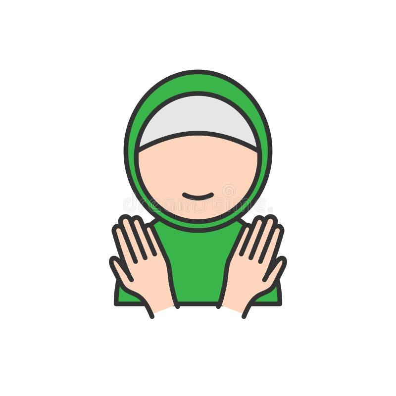 Moslemische Frau mit den betenden Händen Einfache monoline Ikonenart für Moslems Ramadan und eid Al fitr Feier lizenzfreie abbildung