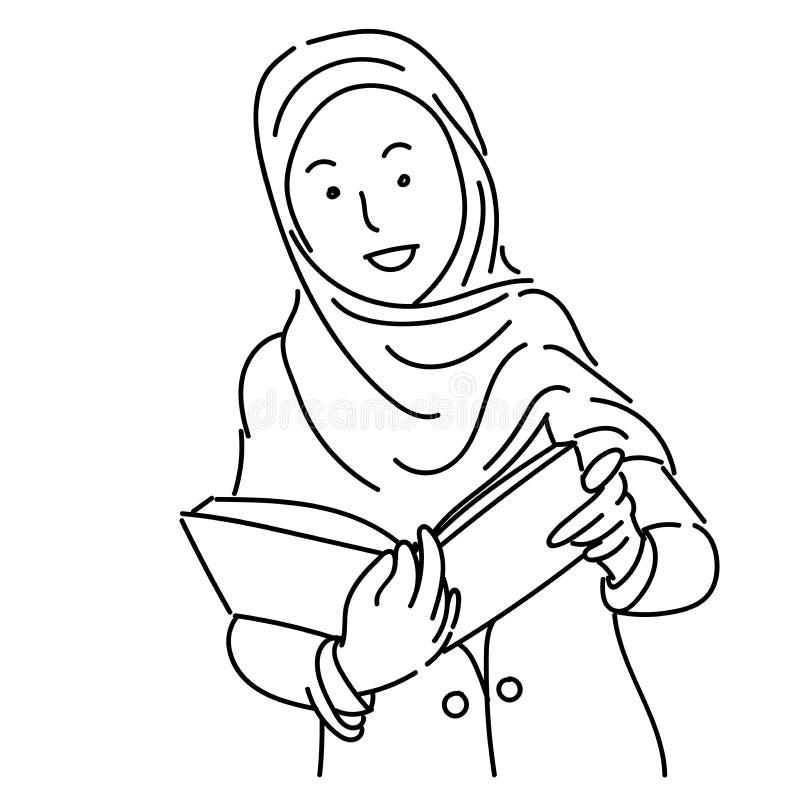 Moslemische Frauen, die hijab Karikatur-Vektorillustration tragen stock abbildung