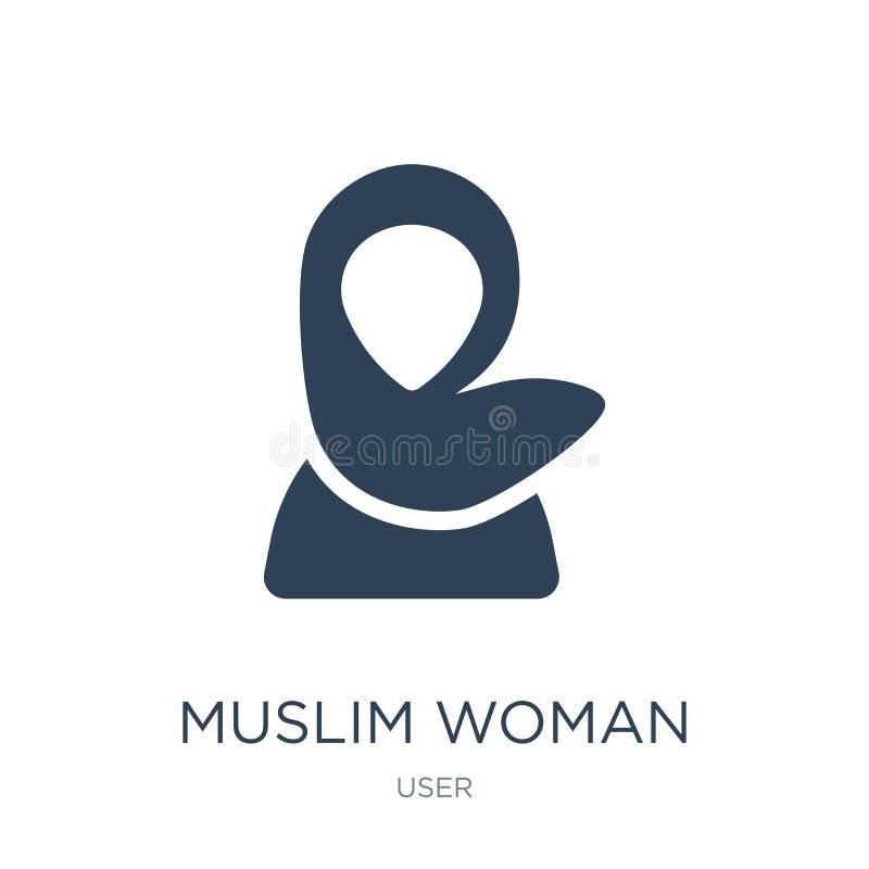 moslemische Frauenikone in der modischen Entwurfsart moslemische Frauenikone lokalisiert auf weißem Hintergrund moslemische Fraue vektor abbildung
