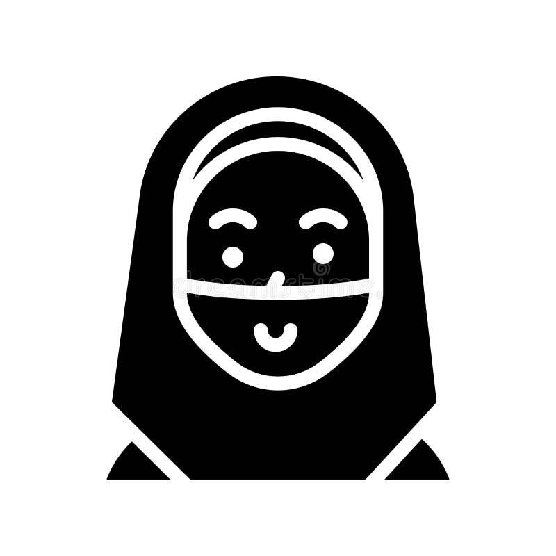 Moslemische Frauenvektorillustration, Ramadan bezog sich feste Ikone lizenzfreie abbildung