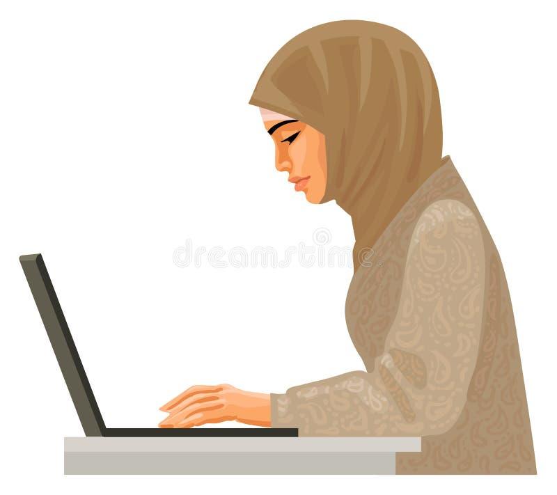 Moslemische Geschäftsfrau in der traditionellen Kleidung, die an Computer arbeitet Vektor lizenzfreie abbildung