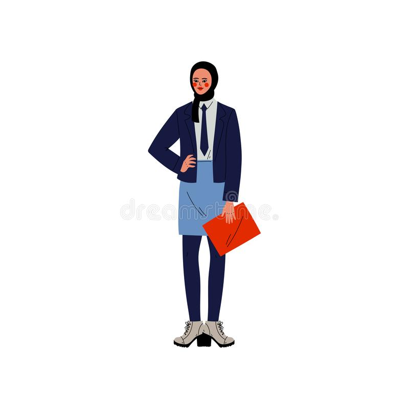 Moslemische Geschäftsfrau in Hijab, Büroangestellter, Unternehmer oder Manager Character Vector Illustration stock abbildung