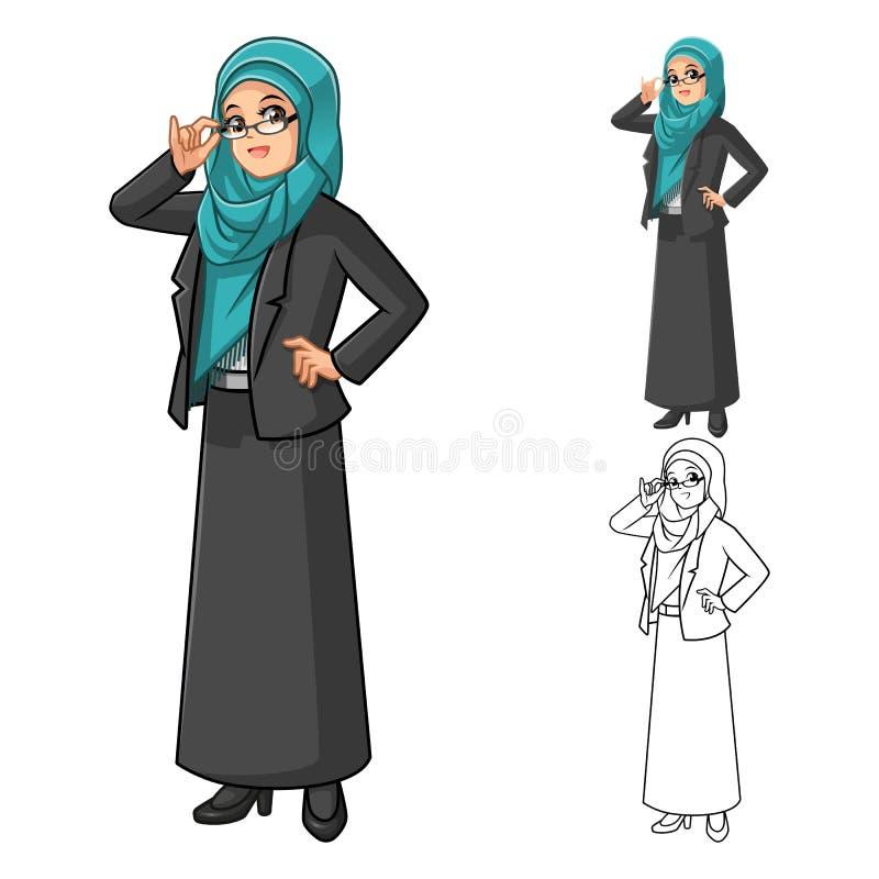 Moslemische Geschäftsfrau Wearing Green Tosca Veil oder Schal mit Gläsern stock abbildung