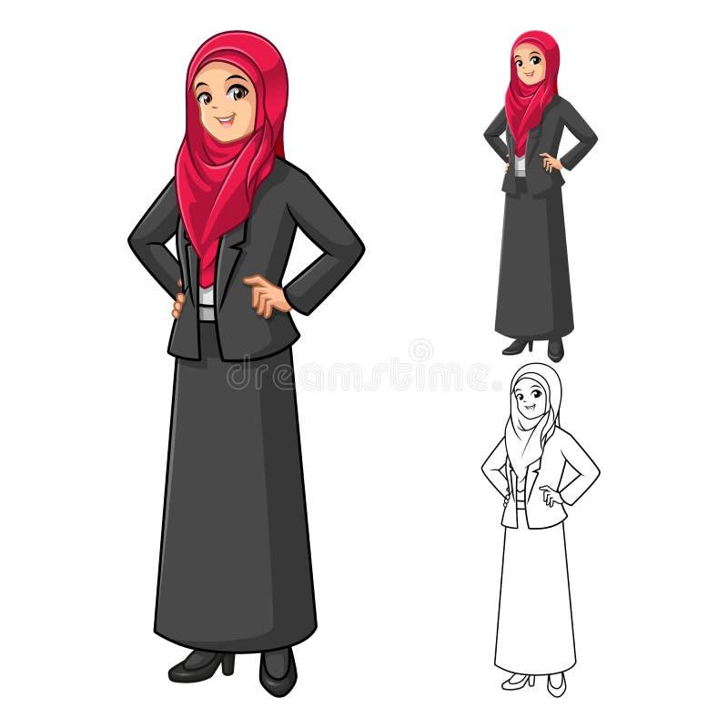 Moslemische Geschäftsfrau Wearing Red Veil oder Schal mit den Händen auf Hüfte vektor abbildung