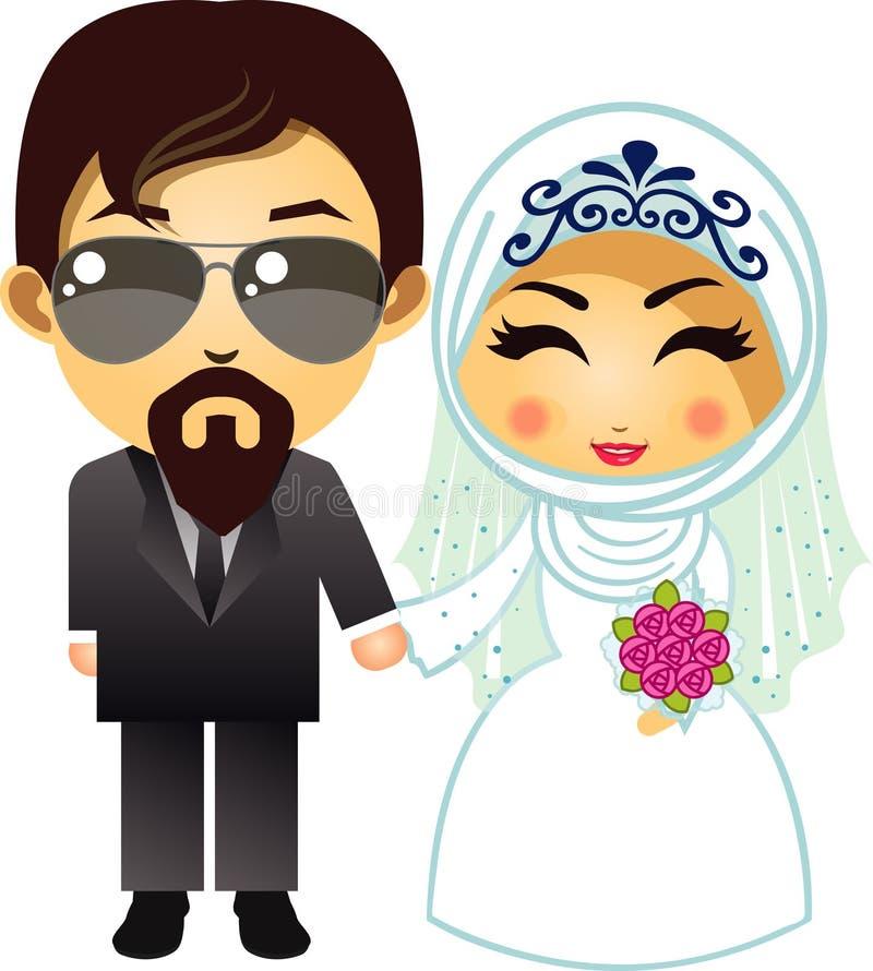 Moslemische Hochzeitspaarkarikatur, -braut und -bräutigam mit Blumenblumenstrauß lizenzfreie abbildung