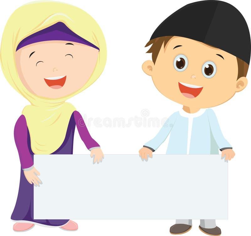 Moslemische Kinder, die leeres Zeichen halten lizenzfreie abbildung