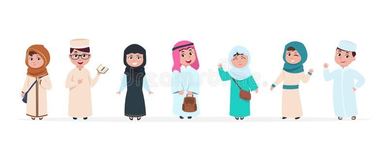 Moslemische Kinder Islamische Kinderzeichentrickfilm-figuren Schuljunge und -mädchen im saudischen traditionellen Kleidungsvektor vektor abbildung