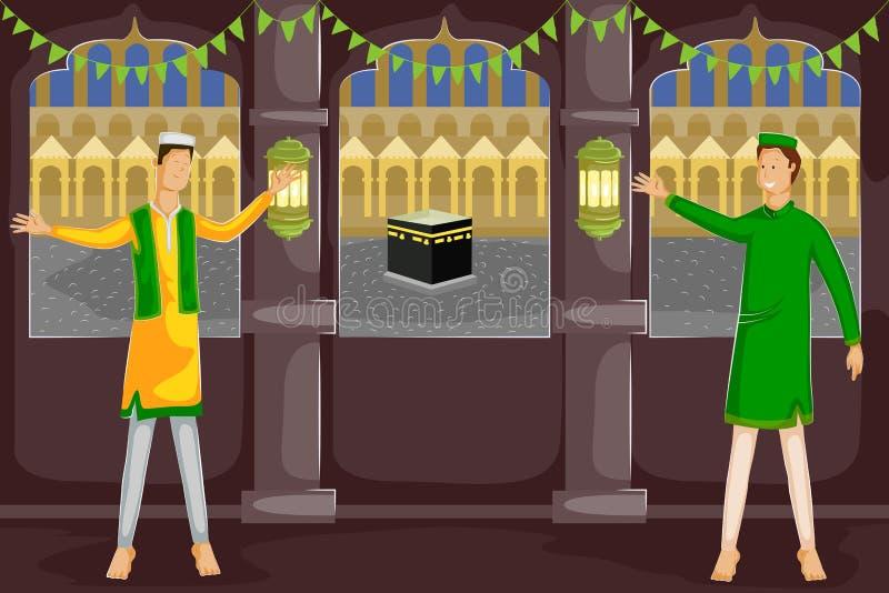 Moslemische Leute, die Eid Mubarak wünschen vektor abbildung