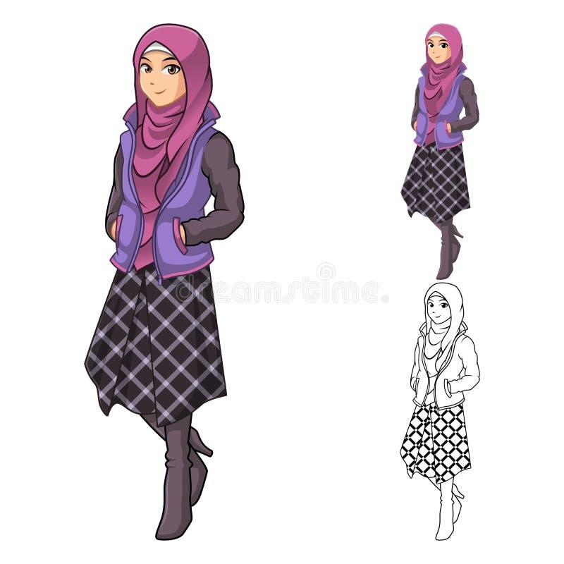 Moslemische Mädchen-Mode, die grünen Schleier oder Schal mit gelber Jacke und Stiefeln trägt lizenzfreie abbildung