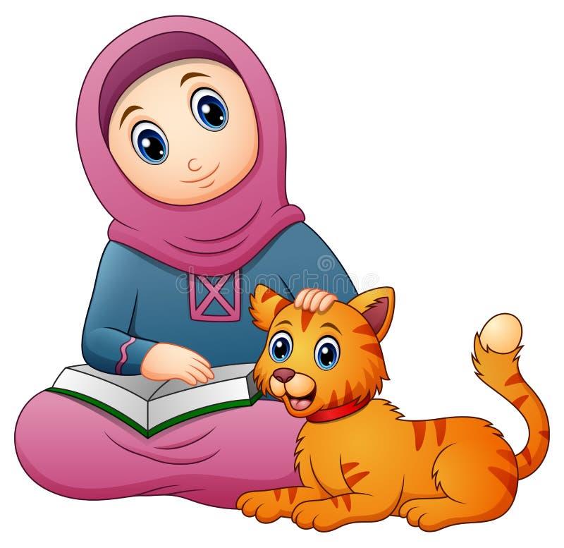 Moslemische Mädchenkarikatur, die Buch und nette Katze hält lizenzfreie abbildung