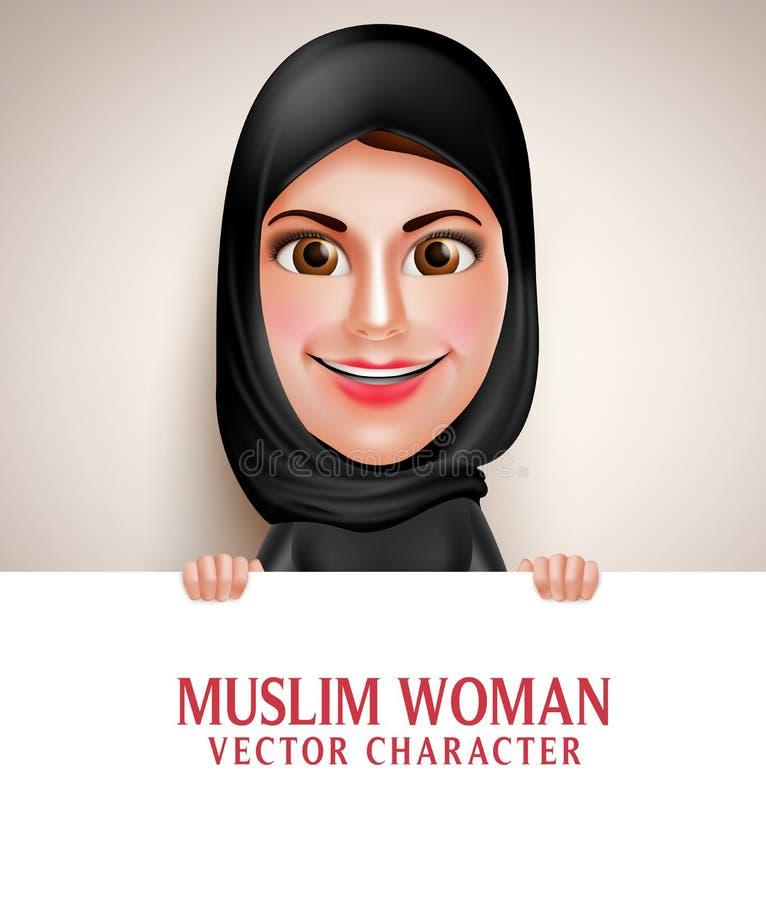 Moslemischer arabischer Frauenvektorcharakter, der leeres weißes Brett hält vektor abbildung