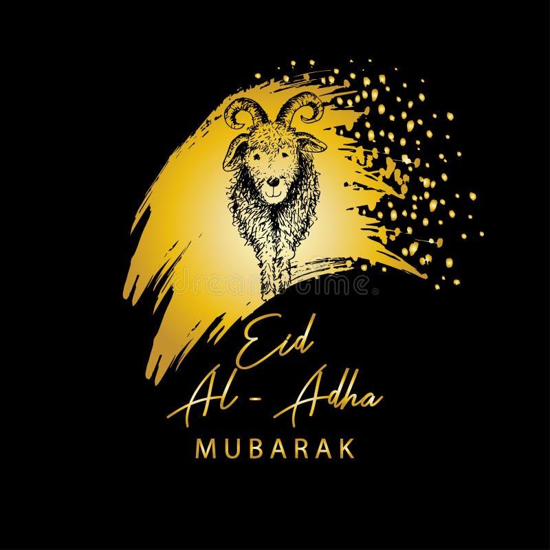Moslemischer Feiertag Eid Al-Adha Gru?karte mit Ziege lizenzfreie abbildung