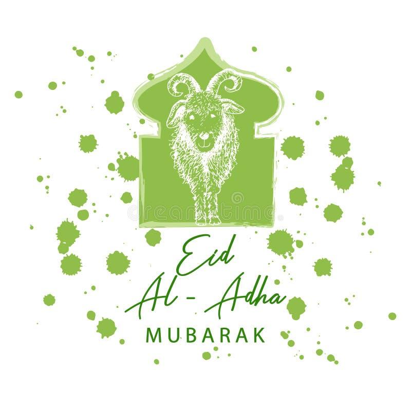 Moslemischer Feiertag Eid Al-Adha Gru?karte mit Ziege vektor abbildung