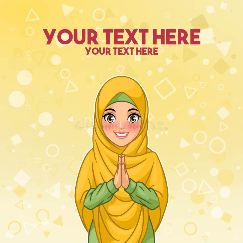 Moslemischer Frauengruß mit den freundlichen Händen stock abbildung