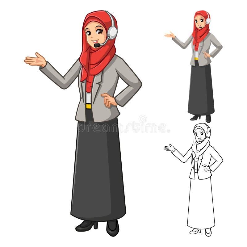 Moslemischer Geschäftsfrau-Operator Wearing Red-Schleier oder -schal mit den freundlichen Händen und Haupttelefon stock abbildung