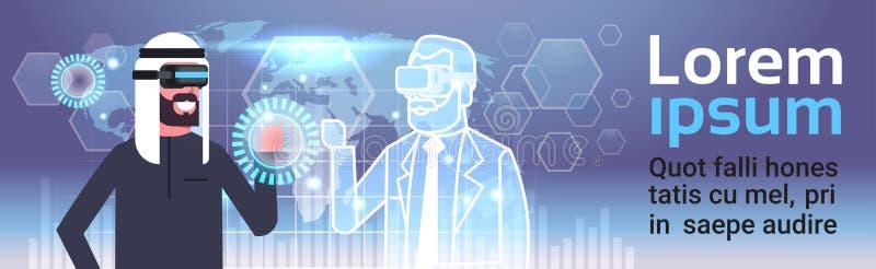 Moslemischer Geschäftsmann in 3d Hearset unter Verwendung Digital-Schnittstelle mit Innovations-Konzept der Weltkarte-Hintergrund lizenzfreie abbildung