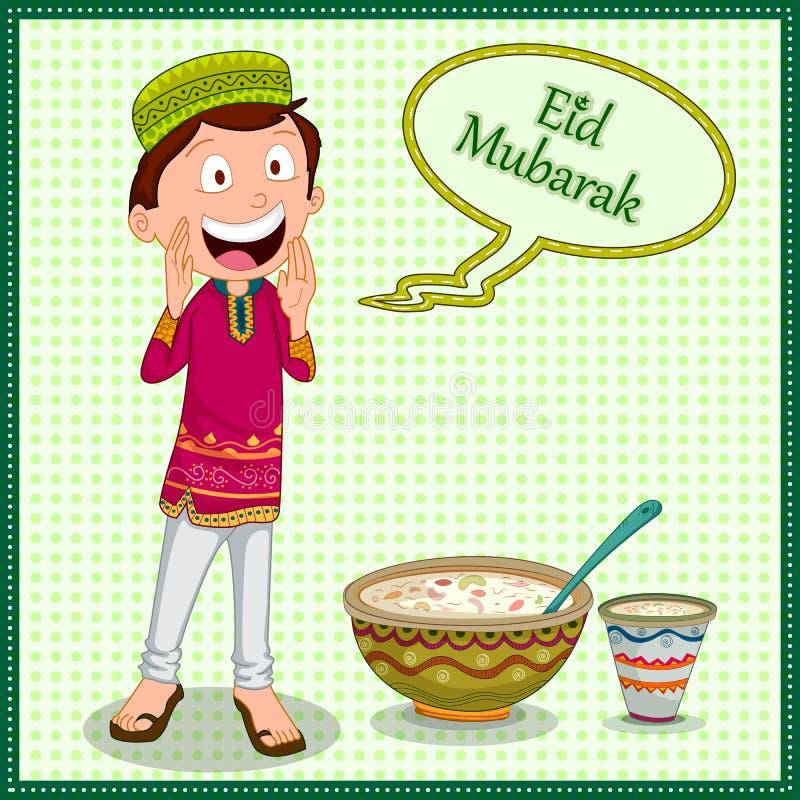 Moslemischer Junge, der Eid Mubarak Happy Eid Ramadan-Hintergrund wünscht stock abbildung