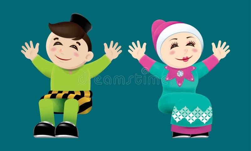 Moslemischer Junge und Mädchen, die ihre Hände wellenartig bewegt Mit Farbhintergrund lizenzfreie abbildung