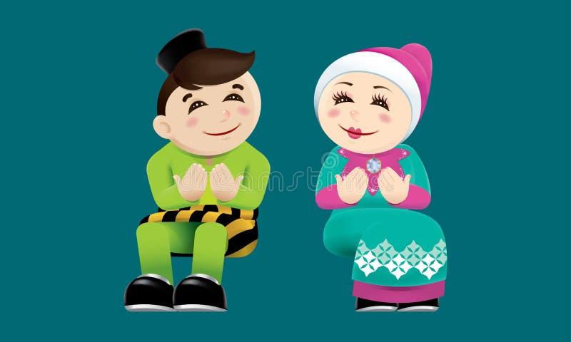 Moslemischer Junge und Mädchen mit betendem Beitrag mit Farbhintergrund lizenzfreie abbildung