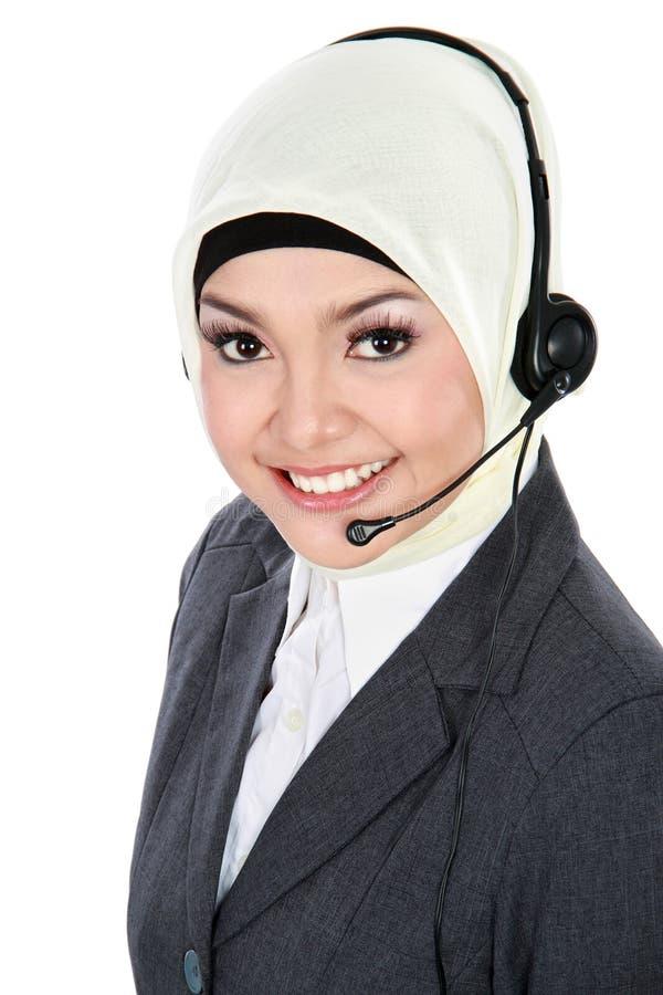 Moslemischer Kundendienstbetreiber lizenzfreie stockfotografie