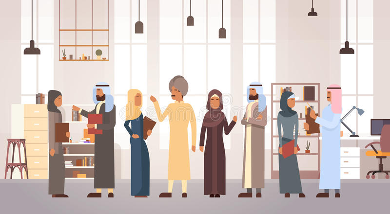 Moslemischer Leute-Geschäftsmann und Frau Team In Modern Office lizenzfreie abbildung