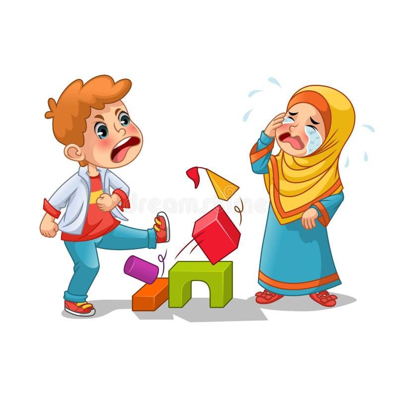 Moslemischer Mädchen-Schrei weil Junge, der sie Blöcke zerstört lizenzfreie abbildung
